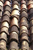 The roof in a colonial style in Santana de Parnaiba city. SANTANA DE PARNAIBA, SP, BRAZIL - AUGUST 01, 2015 - Roof of tiles in colonial style in the historic Royalty Free Stock Images