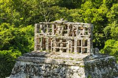 Roof Comb Atop Mayan Temple Ruins Royalty Free Stock Photos