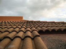 Roof with concrete tiles Royalty Free Stock Image