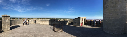 On the roof of the Constance Tower, Aigues Mortes, France Royalty Free Stock Photo