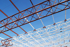Roof construction 01. Building metal construction over blue sky Royalty Free Stock Image
