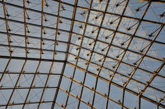 Roof construction. Abstract roof construction which consist of glass and steel Stock Images