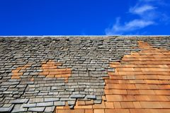 Roof construction site. Removal of old roof, replacement with ne royalty free stock photography