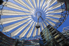 Roof construction in the Sony Center at Potsdamer Platz in Berlin. Berlin, Germany - June 30, 2015: Roof construction in the Sony Center at Potsdamer Platz in Royalty Free Stock Images