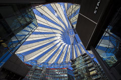 Roof construction in the Sony Center at Potsdamer Platz in Berlin. Berlin, Germany - June 30, 2015: Roof construction in the Sony Center at Potsdamer Platz in Stock Photography