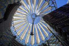 Roof construction in the Sony Center at Potsdamer Platz in Berlin. Berlin, Germany - June 30, 2015: Roof construction in the Sony Center at Potsdamer Platz in Stock Image