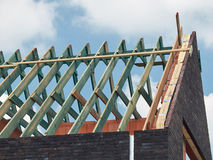 Roof construction, wooden structure skeleton. Horizontal view. Stock Image