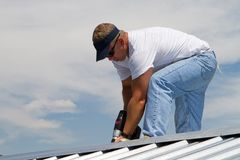 Roof Construction Worker royalty free stock image