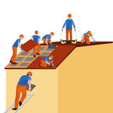 Roof construction worker repair home, build structure fixing rooftop tile house with labor equipment, roofer men with Royalty Free Stock Image