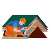 Roof construction worker repair home, build structure fixing rooftop tile house with labor equipment, roofer men. With work tools in hands outdoors renovation Royalty Free Stock Photography