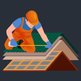 Roof construction worker repair home, build structure fixing rooftop tile house with labor equipment, roofer men with Royalty Free Stock Photo