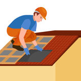 Roof construction worker repair home, build structure fixing rooftop tile house with labor equipment, roofer men with. Work tools in hands outdoors renovation Stock Photo