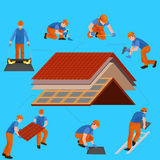 Roof construction worker repair home, build structure fixing rooftop tile house with labor equipment, roofer men with Stock Images