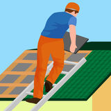 Roof construction worker repair home, build structure fixing rooftop tile house with labor equipment, roofer men with Royalty Free Stock Images