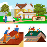 Roof construction worker repair home, build structure fixing rooftop tile house with labor equipment, roofer men with Stock Image