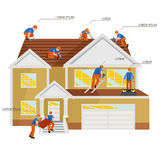 Roof construction worker repair home, build structure fixing rooftop tile house with labor equipment, roofer men with Stock Photos