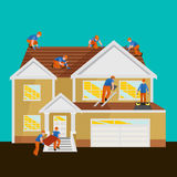 Roof construction worker repair home, build structure fixing rooftop tile house with labor equipment, roofer men with Stock Photo