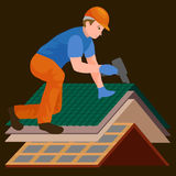 Roof construction worker repair home, build structure fixing rooftop tile house with labor equipment, roofer men with Royalty Free Stock Photography