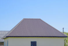 The roof of corrugated sheet Royalty Free Stock Images