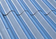 Roof with corrugated steel. Background or texture roof with corrugated steel Stock Photography