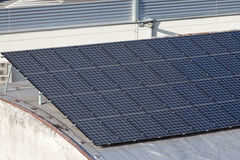 Roof with green electricity production Royalty Free Stock Photography