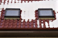 Roof covered by snow Stock Photography