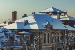 Roof covered by snow Stock Photo