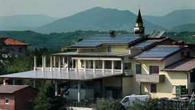 Roof covered with solar panes stock video