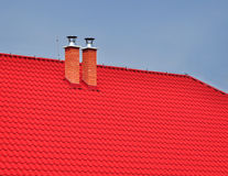 Roof covering chimney Royalty Free Stock Photography