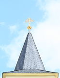 Roof with cross of church in Dolni Jircany Royalty Free Stock Photography