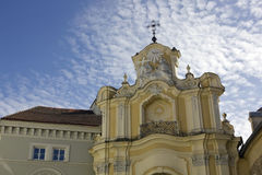 Roof cross and windows of a church the Saint Virgin Mary Royalty Free Stock Photography