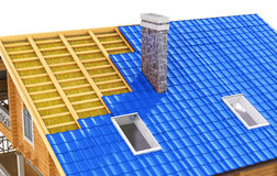 Roof in cut. The demonstration roof insulation. 3D illustration Royalty Free Stock Image