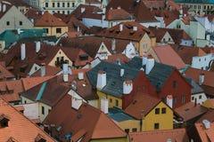 The roof of Czesky Krumlov medieval city Stock Images