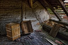 Roof, Decay, Ruin, Lumber, Lapsed Stock Photography