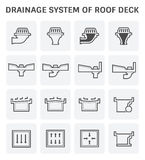 Roof Deck Drainage. Vector icon design of roof deck drainage system Stock Images