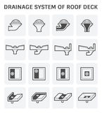 Roof Deck Drainage. Vector icon design of roof deck drainage system Stock Photos