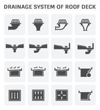 Roof Deck Drainage. Vector icon design of roof deck drainage system Stock Photo