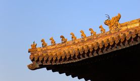 Roof decorations. Forbidden City. Beijing. China Royalty Free Stock Photos