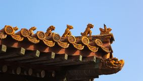 Roof decorations. Forbidden City. Beijing. China. Royalty Free Stock Photography