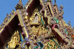 Roof decorations on a Samui Buddhist temple in Thailand stock images