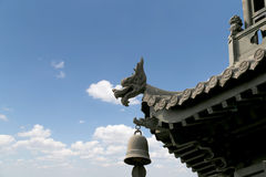 Roof decorations on the territory Giant Wild Goose Pagoda Royalty Free Stock Photos