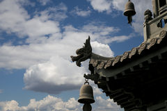 Roof decorations on the territory Giant Wild Goose Pagoda, Xian (Sian, Xi'an) Royalty Free Stock Photo