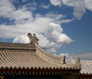 Roof decorations on the territory Giant Wild Goose Pagoda--Xian (Sian, Xi'an) Stock Photo