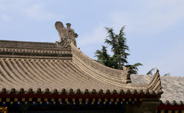 Roof decorations on the territory Giant Wild Goose Pagoda--Xian (Sian, Xi'an) Royalty Free Stock Image