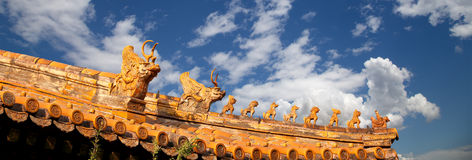 Roof decorations in Yonghe Temple in Beijing, China Stock Photos