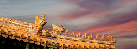 Roof decorations in Yonghe Temple in Beijing, China Royalty Free Stock Photos