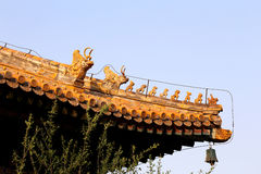 Roof decorations in Yonghe Temple (Lama Temple) in Beijing Royalty Free Stock Photos