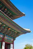 Roof design of a traditional Korean building in Gyeongbokgung palace, Seoul, South Korea. stock image