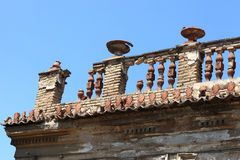 Roof of destroyed building Royalty Free Stock Photography