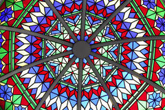 Roof detail. Abstract detail of the stained glass cupola roof over part of an arcade in Souq Waqif, Doha, Qatar Royalty Free Stock Photos